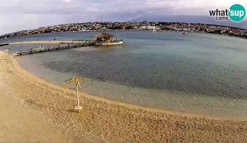 The city beach in Novalja with the webcam
