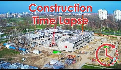 Construction site Time Lapse - School Construction - Zagreb, Croatia