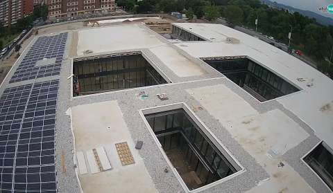 American International School in Zagreb - Building site, crane view